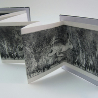 Artist's Book 'Fleet of Foot' hares limited edition handprinted miniature book