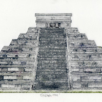 Chichen Itza - collagraph of Mexican temple pyramid