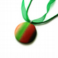 Round Ombre Pendant - Striped Blend of Green Orange & Red Shades - Voile Ribbon