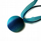Round Ombre Pendant - Striped Blend of Blue Aqua Teal Turquoise & Azure Shades
