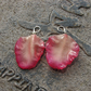 REAL Rose Petal Earrings - Large Pink Cream Rose Flower Petals - Sterling Silver