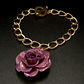 REAL Rose Flower - Small Purple Rose - Gold Charm Bracelet