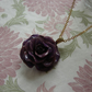 REAL Rose Flower Pendant - Purple Rose Flower Pendant and Gold Chain Necklace