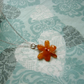 REAL Orchid Flower Pendant - Tiny Orange Orchid Necklace - Sterling Silver Chain