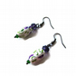 Scottish Thistle Earrings - Handmade White Purple & Green Polymer Clay Beads