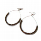 Gold Hoop Earrings Metallic Copper Bronze Faceted Crystal Beads Gold Plated Hook