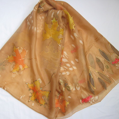 Autumn Leaves - a hand-painted silk scarf