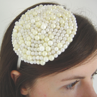 Handbeaded Ivory and Cream Faux Pearl Headdress on Satin Hairband by Laura Toal