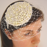 Faux Pearl Headdress With Veiling, Cream and Ivory Pearl Fascinator, Retro Style