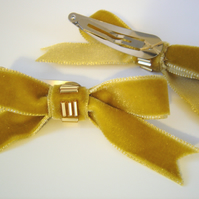 Gold Velvet Bow Hair Clips, Two Beaded Gold Ribbon Hair Clips, Teen Hair Bow