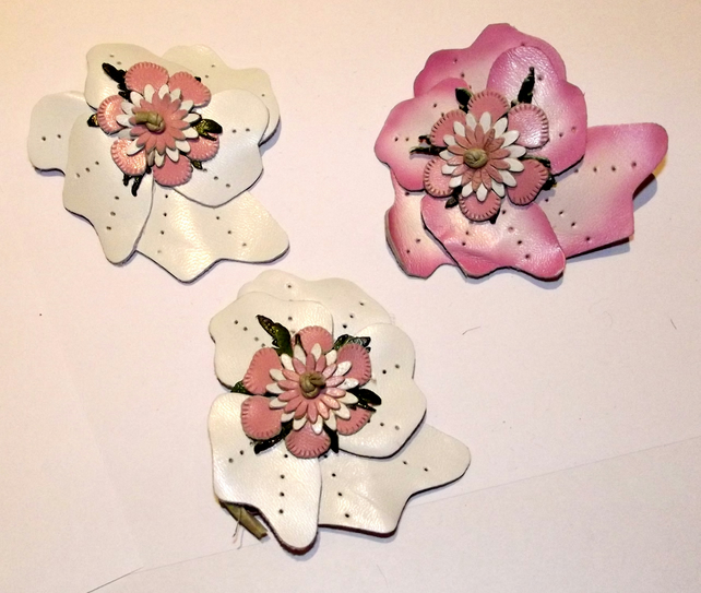 3 beautiful leather flowers craft supplies c folksy for Leather flowers for crafts