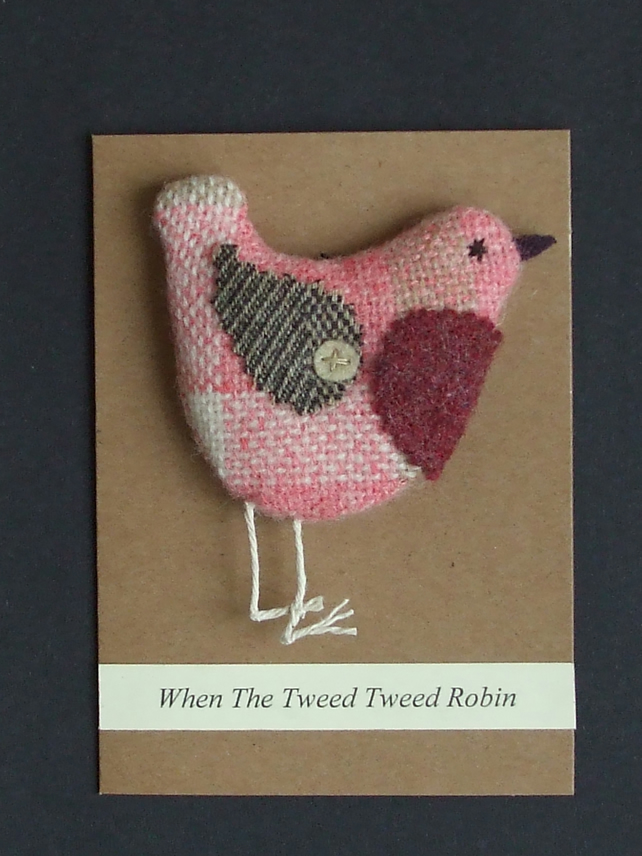 Pink Tweed Robin Card-Decoration