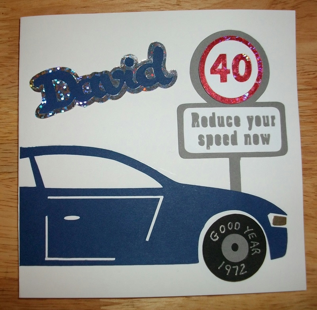 Car Lovers Birthday Card Personalise Name Age Birth Year Colour