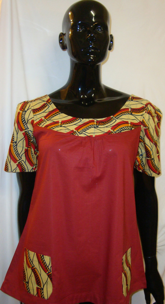 Red cotton smock top with wax print detail - Small