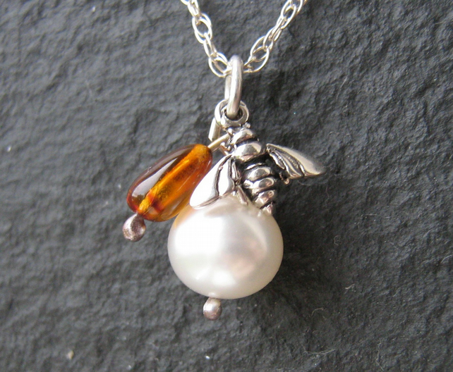 Bee Charm and Amber Pendant