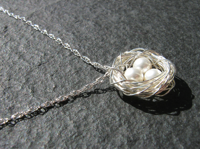Sterling silver wire wrapped nest pendant
