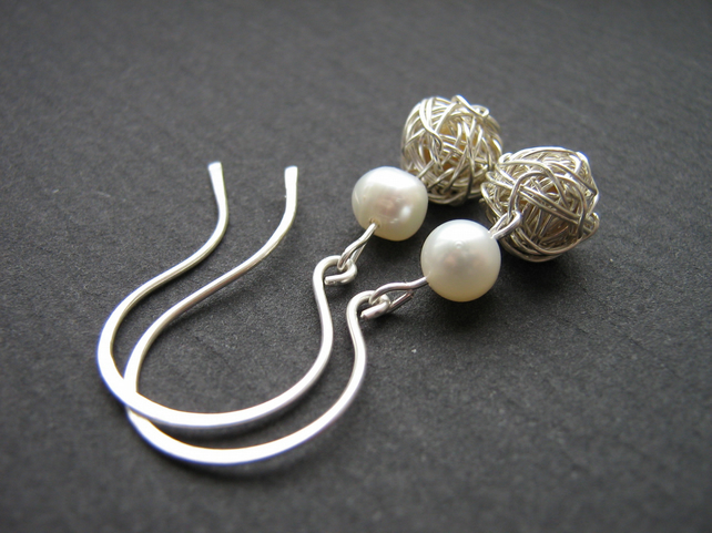 Freshwater Pearl and Silver Wire Wrapped Earrings