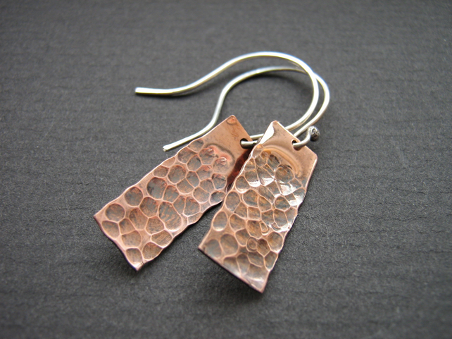 Hammered copper and silver earrings