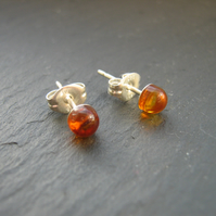 Amber Stud Earrings - Gemstone Studs
