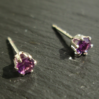 Sterling Silver Studs with Amethyst Gemstone
