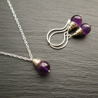 Amethyst and Silver Jewellery Set - Necklace and Earrings