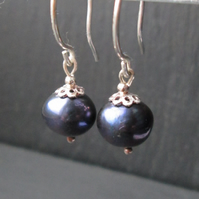 Bridal Jewellery - Blue Pearl Earrings -Wedding Jewellery