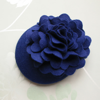 Blue Cocktail Hat - Wedding Hat, Womens Formal Hat, Felt Fascinator