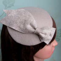 Cocktail Hat - Mushroom Grey Brown Felt Hat