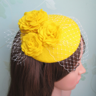 Yellow Felt Cocktail Hat
