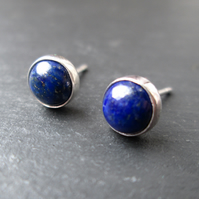 Lapis Lazuli Stud Earrings - Blue Lapis Stone Studs, Sterling Silver Jewellery
