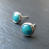 Turquoise Stud Earrings - Gemstone Studs, Silver Jewellery