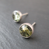 Silver Studs with green amber - Amber Jewellery, Amber Earrings, Gift Jewellery