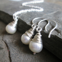 Pearl Jewellery Set - Pearl Necklace, Pearl Earrings, Bridal Jewellery, Wedding