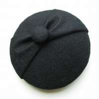 Mini Black Button Hat - Black Fascinator, Mini Hat, Wedding, Vintage Style
