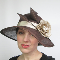 Ladies Hat - Wedding Hat, Occasion Hat, Chocolate Brown Womens Hat, Races