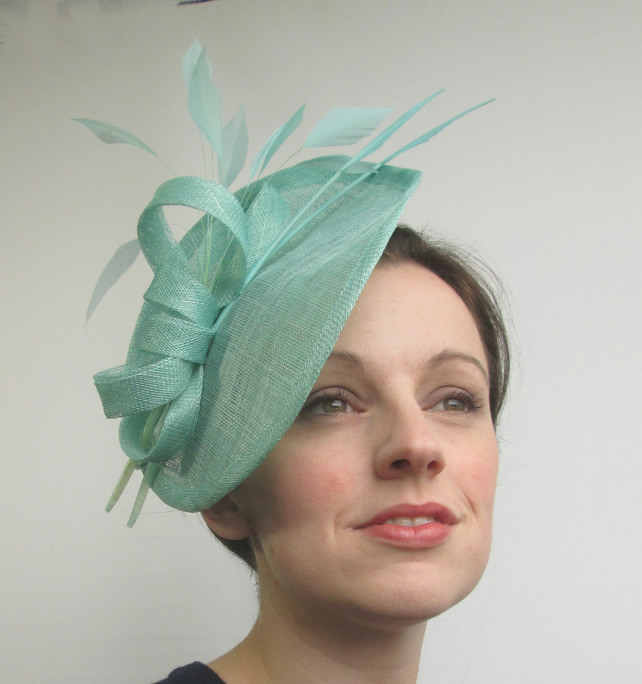 Aqua Blue Fascinator Hat - Handmade Wedding Hat... - Folksy 67f727e0bd7