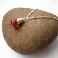 Amber Pendant - Amber Jewellery, Silver Necklace, Wire Wrapped Jewellery, Gift