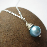 Light Blue Pearl Necklace - Pearl Pendant, Drop Pendant, Wire Wrapped Jewellery