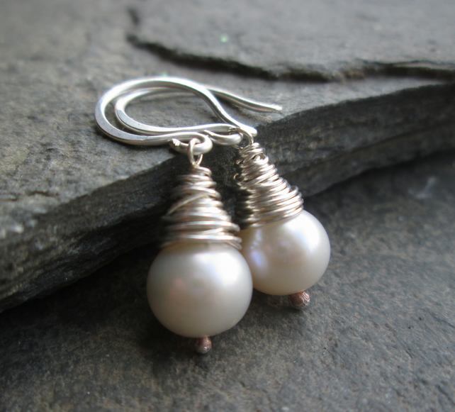Pearl Earrings - Pearl Drop Earrings, Wire Wrapped Jewellery