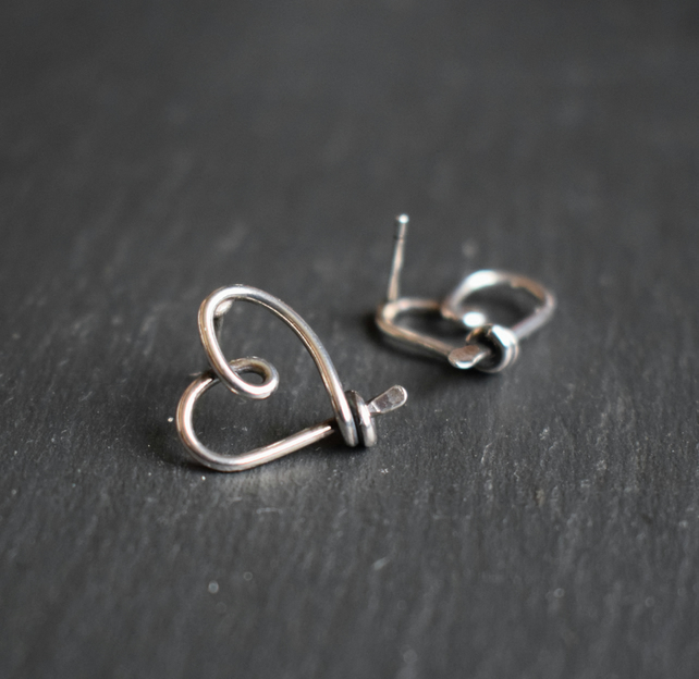 Heart Studs in Sterling Silver - 'AMORE' Silver Wire Earrings