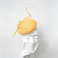 KATERINA Yellow Felt Occasion Hat - Womens Wedding Hat - Hat for the Races