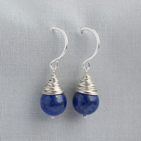 Lapis Lazuli Wire Wrapped Silver Earrings