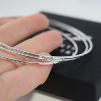 Hammered Sterling Silver Bangles