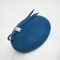 Teal Blue Felt Hat - Cocktail Hat, Womens Races Headpiece