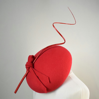 KATERINA Red Felt Occasion Hat - Womens Wedding Hat - Races Headpiece