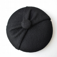 Mini Black Fascinator Hat - Felt Button Hat