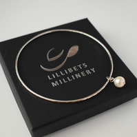 Silver Bangle with Pearl Charm