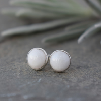 White Jade Stud Earrings - Sterling Silver Studs