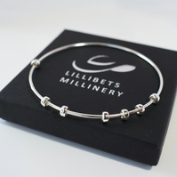 Sterling Silver Bangle - Stress Relief Sliding Charm Bracelet