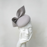 MARIE Grey Felt Occasion Hat - Womens Wedding Hat - Races Hat
